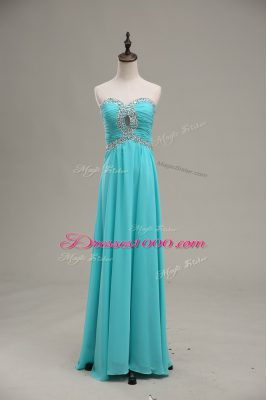 Unique Empire Prom Gown Aqua Blue Sweetheart Chiffon Sleeveless Floor Length Lace Up