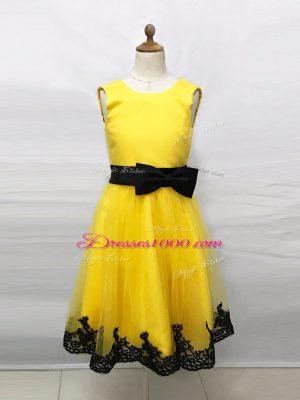 Sleeveless Lace and Belt Zipper Flower Girl Dresses for Less