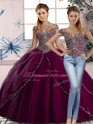 Cheap Purple Sweet 16 Quinceanera Dress Sweet 16 and Quinceanera with Beading Sweetheart Cap Sleeves Brush Train Lace Up