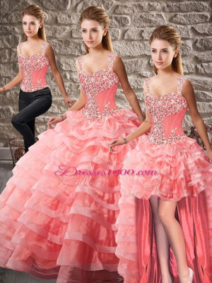 Customized Watermelon Red Lace Up Straps Beading and Ruffled Layers Ball Gown Prom Dress Organza Sleeveless Court Train