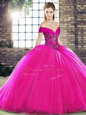 Nice Fuchsia Sleeveless Beading Lace Up Sweet 16 Dresses