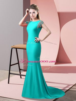 Beading Homecoming Dress Turquoise Backless Short Sleeves Brush Train