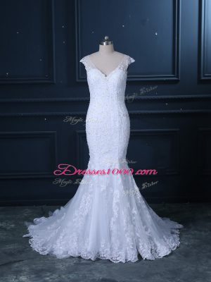 Flare V-neck Sleeveless Wedding Dress Brush Train Beading and Lace White Tulle