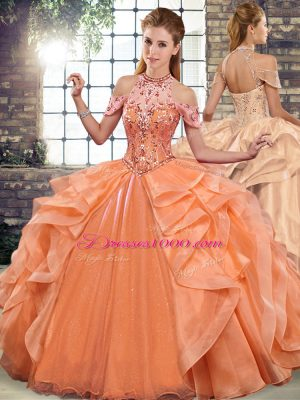 Fantastic Organza Halter Top Sleeveless Lace Up Beading and Ruffles Sweet 16 Quinceanera Dress in Orange
