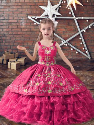 Ball Gowns Party Dress Wholesale Hot Pink Straps Satin and Organza Sleeveless Floor Length Lace Up