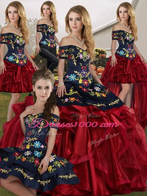 Sleeveless Organza Floor Length Lace Up Quince Ball Gowns in Red And Black with Embroidery and Ruffles