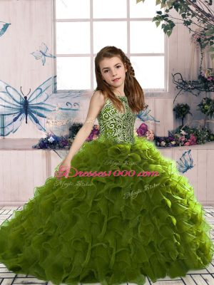 New Style Olive Green Lace Up Scoop Beading and Ruffles Party Dress Organza Sleeveless