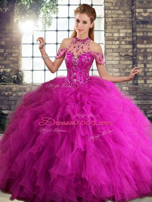 Sleeveless Tulle Floor Length Lace Up Vestidos de Quinceanera in Fuchsia with Beading and Ruffles