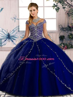 Spectacular Royal Blue Cap Sleeves Beading Lace Up Sweet 16 Dress