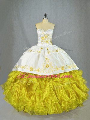Yellow Sweetheart Neckline Beading and Embroidery and Ruffles Quince Ball Gowns Sleeveless Lace Up