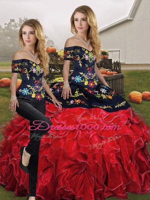Ideal Red And Black Lace Up Off The Shoulder Embroidery and Ruffles Vestidos de Quinceanera Organza Sleeveless