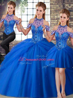 Glittering Halter Top Sleeveless Quinceanera Dresses Brush Train Beading and Pick Ups Blue Tulle