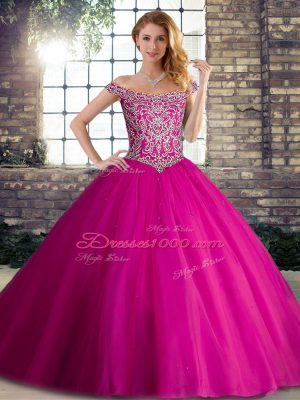 Fuchsia Sleeveless Tulle Brush Train Lace Up Ball Gown Prom Dress for Military Ball and Sweet 16 and Quinceanera