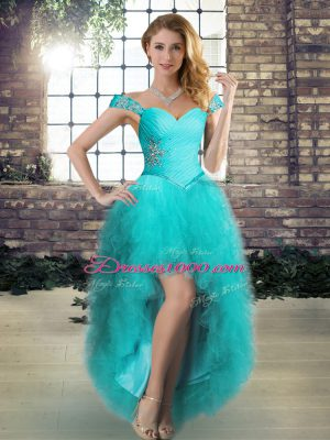 A-line Prom Dress Aqua Blue Off The Shoulder Tulle Sleeveless High Low Lace Up