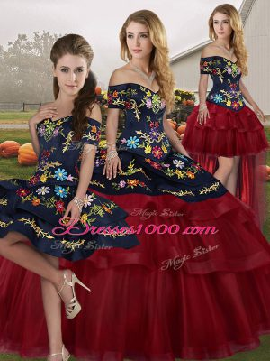 Most Popular Wine Red Ball Gowns Tulle Off The Shoulder Sleeveless Embroidery and Ruffled Layers Lace Up Quinceanera Gowns Brush Train