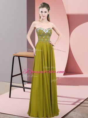 Olive Green Empire Beading Teens Party Dress Zipper Chiffon Sleeveless Floor Length