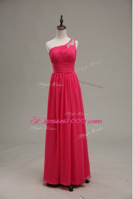 Hot Pink Zipper Dress for Prom Beading and Ruching Sleeveless Floor Length