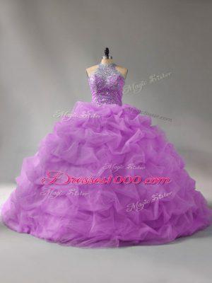 Stylish Lilac Halter Top Neckline Beading and Pick Ups Sweet 16 Dresses Sleeveless Lace Up