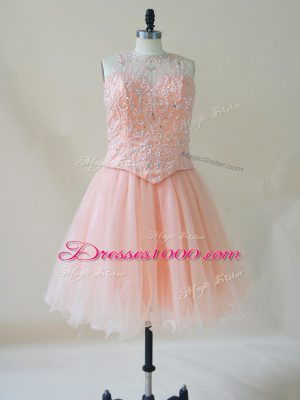 Sleeveless Organza Mini Length Lace Up Juniors Party Dress in Pink with Beading