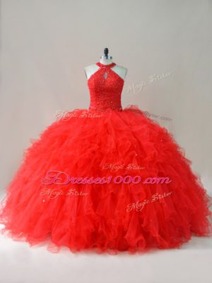 Pretty Sleeveless Tulle Floor Length Lace Up Quince Ball Gowns in Red with Beading and Ruffles