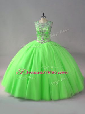 Sleeveless Tulle Floor Length Lace Up Vestidos de Quinceanera in with Beading