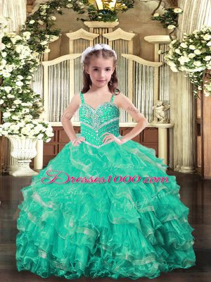 Turquoise Sleeveless Organza Lace Up Little Girls Pageant Dress Wholesale for Party and Wedding Party