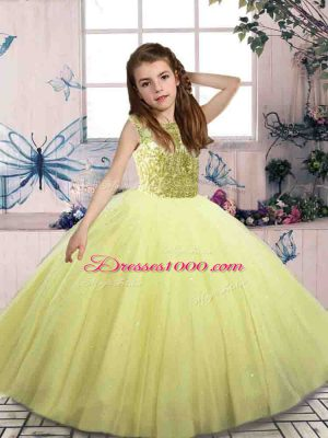 Glorious Yellow Green Tulle Lace Up Scoop Sleeveless Floor Length Pageant Dress for Teens Beading