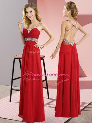 Dazzling Floor Length Empire Sleeveless Red Prom Dresses Criss Cross