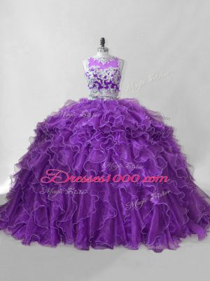 Dazzling Two Pieces Sleeveless Purple Quinceanera Dress Brush Train Zipper