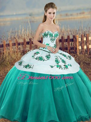 Cute Turquoise Sleeveless Floor Length Embroidery and Bowknot Lace Up Quinceanera Gowns