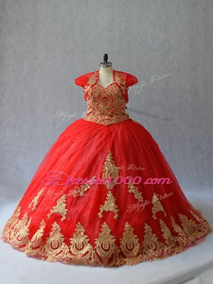 Captivating Ball Gowns Sleeveless Red Quinceanera Gowns Court Train Lace Up