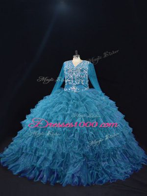 Organza V-neck Long Sleeves Lace Up Beading and Ruffled Layers Quince Ball Gowns in Teal