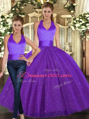Pretty Purple Two Pieces Sequined Halter Top Sleeveless Ruching Floor Length Lace Up Sweet 16 Dresses