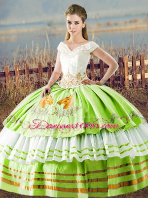 Exquisite Satin Lace Up V-neck Sleeveless Floor Length Sweet 16 Quinceanera Dress Embroidery and Ruffled Layers