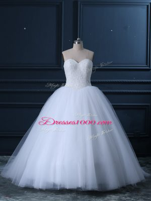Chic Brush Train Ball Gowns Wedding Gowns White Sweetheart Tulle Sleeveless Lace Up