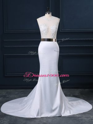 Elegant White Mermaid Scoop Sleeveless Elastic Woven Satin Brush Train Zipper Appliques and Sashes ribbons Wedding Dresses