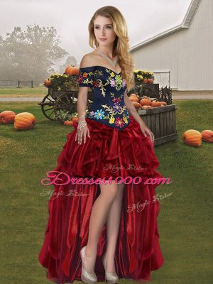 Most Popular Off The Shoulder Sleeveless Organza Prom Party Dress Embroidery and Ruffles Lace Up