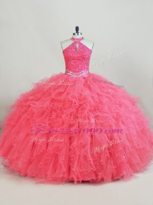 Fashion Tulle Sleeveless Quinceanera Gowns and Beading and Ruffles