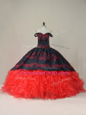Fashion Lace Up Quinceanera Gowns Red And Black for Sweet 16 and Quinceanera with Embroidery and Ruffles Brush Train
