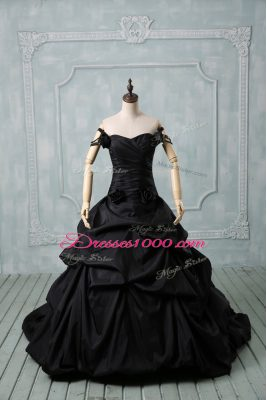 Black Taffeta Lace Up Off The Shoulder Sleeveless 15th Birthday Dress Brush Train Pick Ups and Hand Made Flower