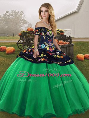 Off The Shoulder Sleeveless Lace Up Quinceanera Gowns Turquoise Tulle