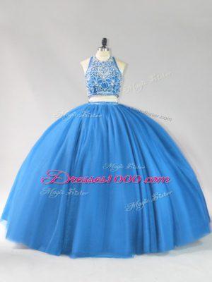 Modern Strapless Sleeveless Tulle Quinceanera Dress Beading Backless