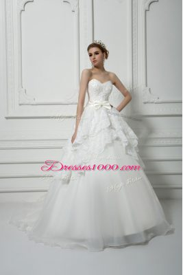 White Organza Lace Up Wedding Gown Sleeveless Brush Train Beading and Lace and Bowknot