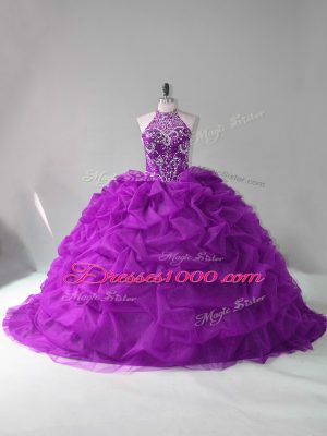 Vintage Purple Organza Lace Up Halter Top Sleeveless Quinceanera Dresses Court Train Beading and Pick Ups