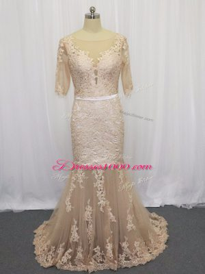Mermaid Half Sleeves Champagne Brush Train Backless