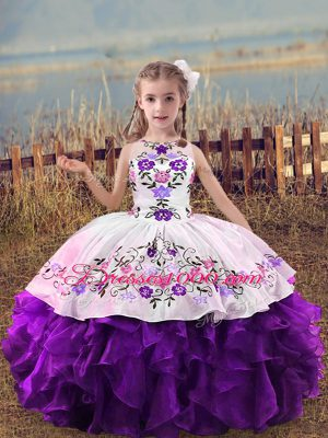 Dazzling Scoop Sleeveless Child Pageant Dress Floor Length Embroidery and Ruffles Purple Organza