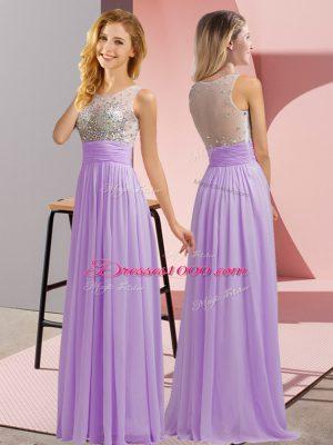 Stylish Sleeveless Side Zipper Floor Length Beading Damas Dress