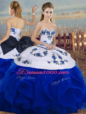 Sweetheart Sleeveless Lace Up Ball Gown Prom Dress Royal Blue Tulle