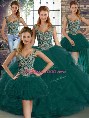Peacock Green Lace Up Quinceanera Dress Beading and Ruffles Sleeveless Floor Length