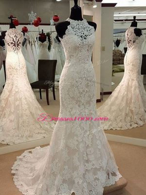 Custom Made White Mermaid Lace High-neck Sleeveless Lace Clasp Handle Wedding Dresses Brush Train